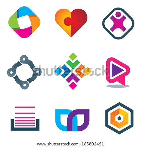 Link connection symbol logo icons of social media and network - stock vector