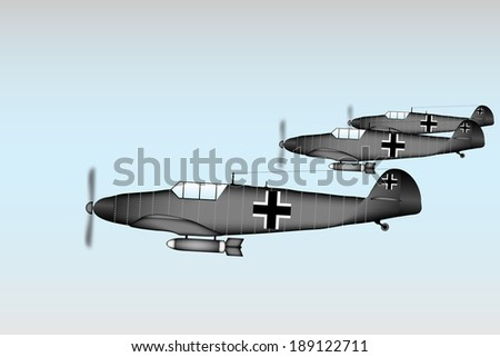 Link fighter-bomber of World War II at sky - vector illustration. - stock vector