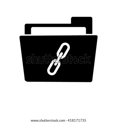 Link; single - white vector icon;  black folder