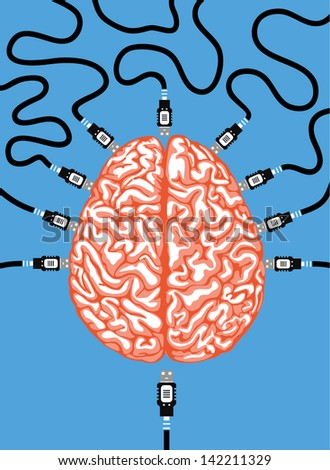 link to brain - stock vector