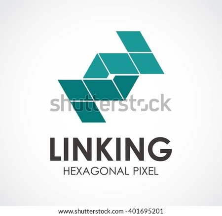 Linking Hexagonal Chain Abstract Vector Logo Stock Vector