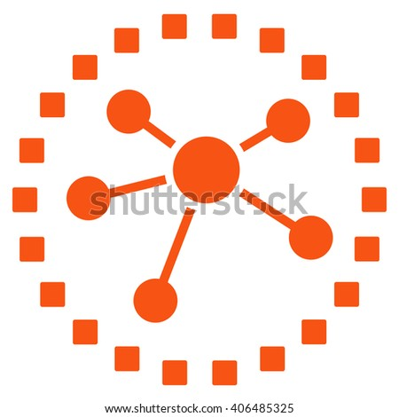 Links Diagram vector toolbar icon. Style is flat icon symbol, orange color, white background, square dots.