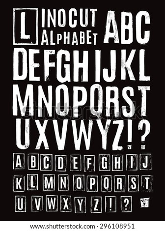 Lino cut alphabet - stock vector