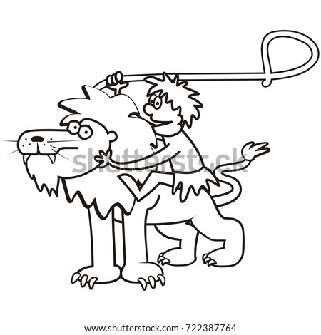Lion And A Tamer Coloring Page