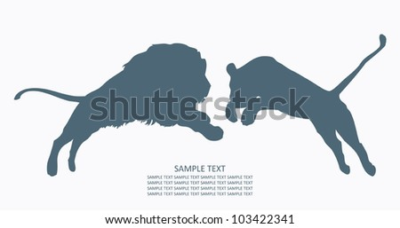 Lion and lioness - vector illustration - stock vector