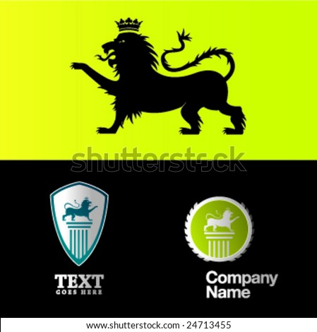 lion and logo compositions - stock vector