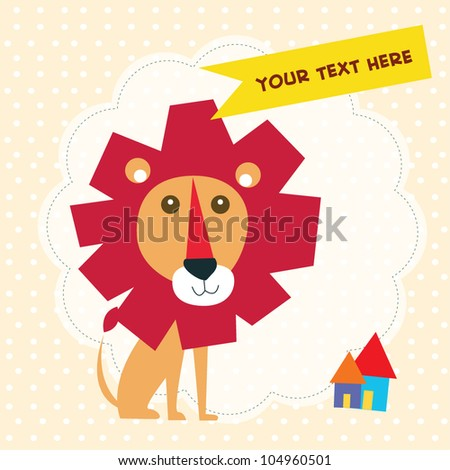 lion card with text - stock vector