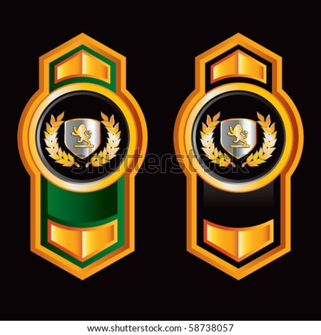 lion crest orange green and black lined arrows - stock vector
