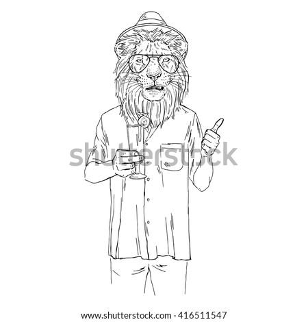 Lion Dressed Up In Aloha Shirt Furry Art Illustration Fashion Animals Hipster