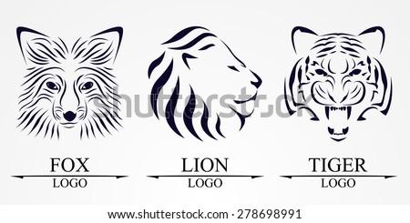 Lion face, fox face and tiger face logo emblem template for business or t-shirt design. Vector Vintage Design Element. - stock vector