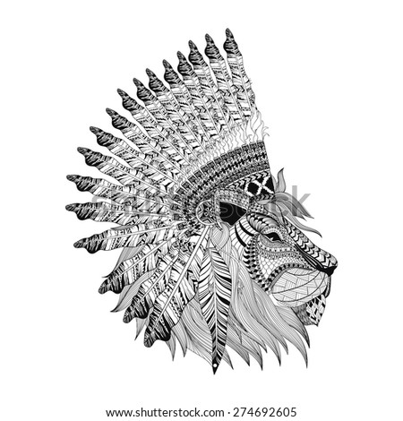 Lion face in feathered war bonnet in zentangle style, Headdress for Indian Chief. American boho spirit. Hand drawn sketch vector illustration for tattoos. T-shirt print. - stock vector