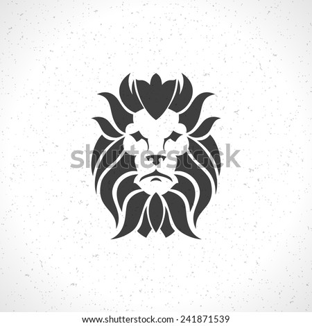 Lion face logo emblem template for business or t-shirt design. Vector Vintage Design Element. - stock vector