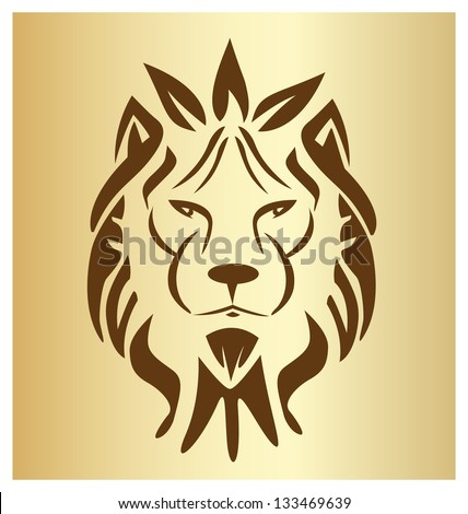 Lion face vintage silhouette icon vector - stock vector