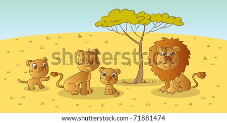 lion family, wild animals savanna drawing - stock vector
