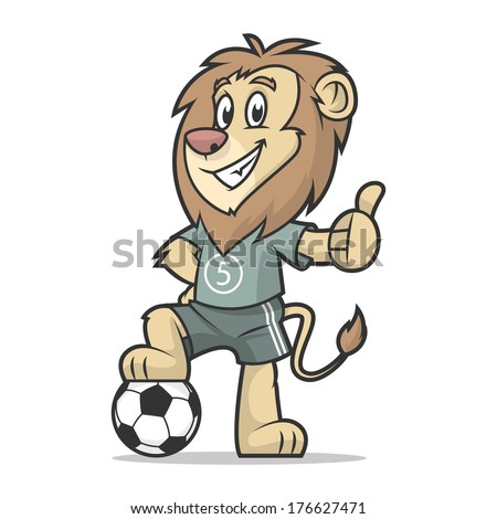 Lion footballer showing thumb up - stock vector