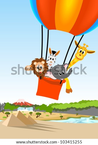 lion, giraffe, zebra and elephant in the colorful hot air balloon over african landscape - kid vector illustration - stock vector