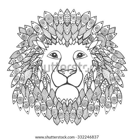 Lion Head Adult Antistress Coloring Page Stock Vector 332246837