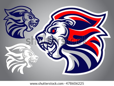 lion head blue red logo