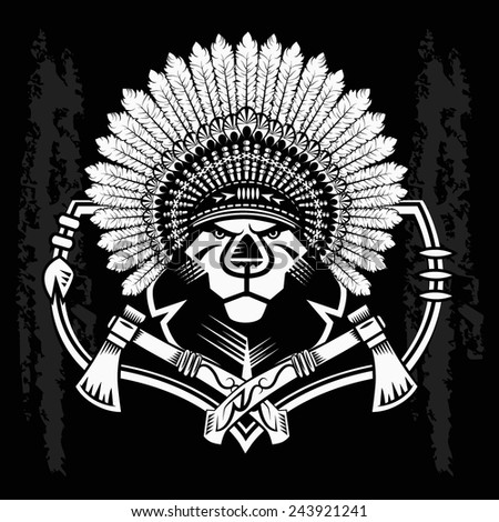 Lion Head Graphic on black and white background and native american tomahawk - stock vector