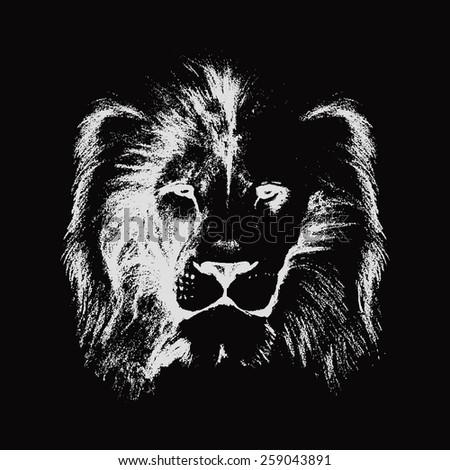lion head. hand drawn. vector illustration - stock vector