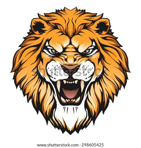 Lion head illustration - stock vector