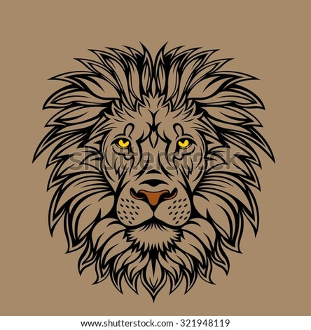 Lion head illustration. Nice to mascot , T-shirt design, etc - stock vector