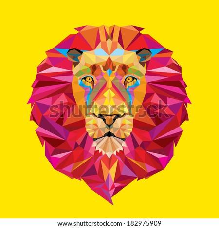 Lion head in geometric pattern - stock vector
