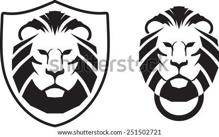 Lion head knocker and crest vector illustration - stock vector