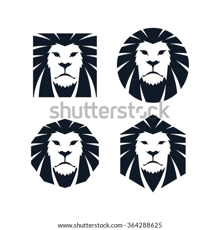 lion head - logo template - stock vector