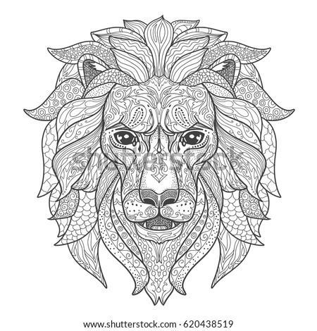 Hand drawn zentangle ornamental lion on stock vector for Lion mandala coloring pages