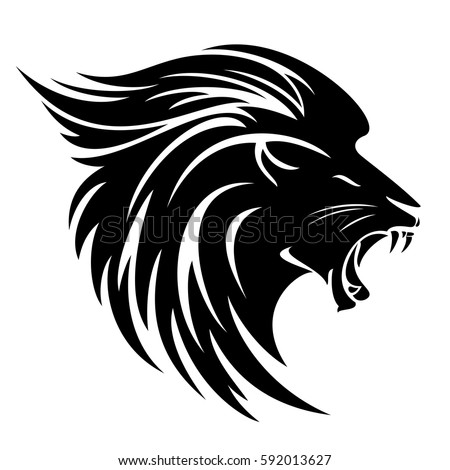 Lion Head Side View Tribal Design Stock Vector 592013627 ...