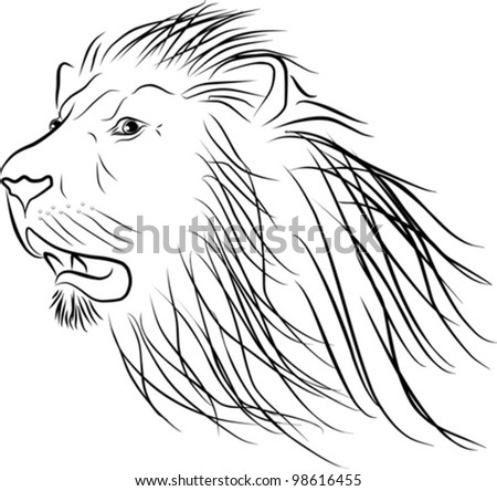 lion head silhouette - freehand on a white background, vector illustration - stock vector