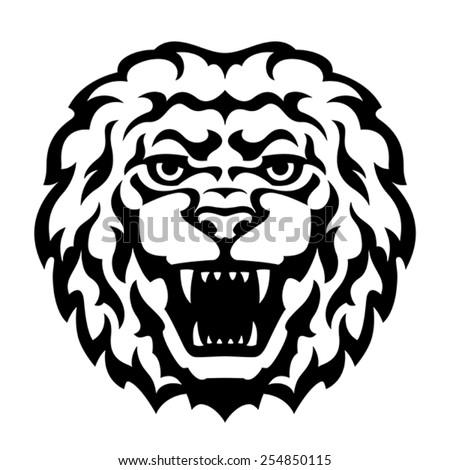 Lion Head Tattoo. Stylized vector illustration. - stock vector