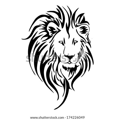 Lion Face Drawing Tribal lion head tattoo vector