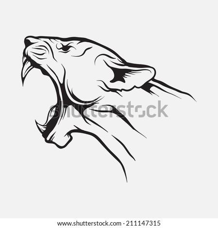 Lion head. Vector. - stock vector
