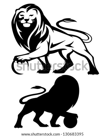lion holding a ball - vector illustration - black and white outline and silhouette - stock vector