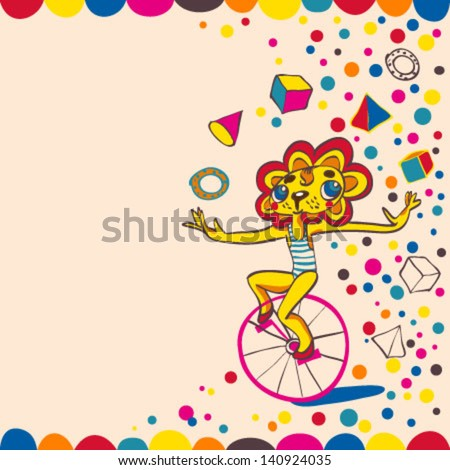 Lion in circus. Juggling lion by bicycle. Hand drawing. Vector illustration. - stock vector