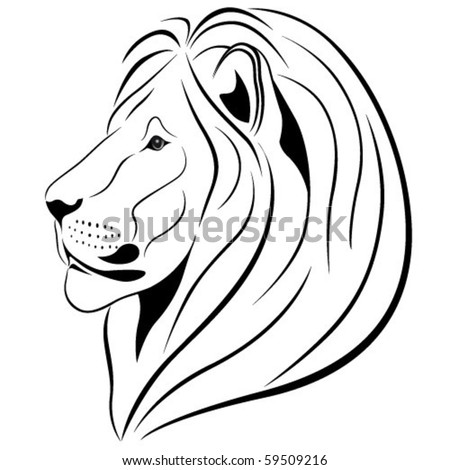 Lion in the form of a tattoo - stock vector