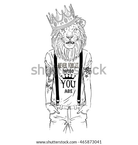 Lion King Hipster With Tattoo Dressed Up In Cool T Shirt Furry Art Illustration