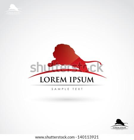 Lion label - vector illustration - stock vector