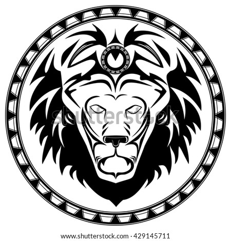 Lion logo black and white vector