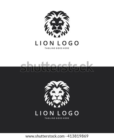 Lion logo. Lion head. Logo template suitable for businesses and product names. Easy to edit, change size, color and text.  - stock vector