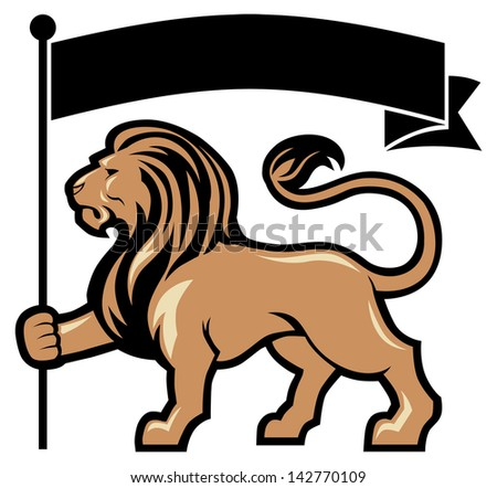lion mascot hold a flag - stock vector