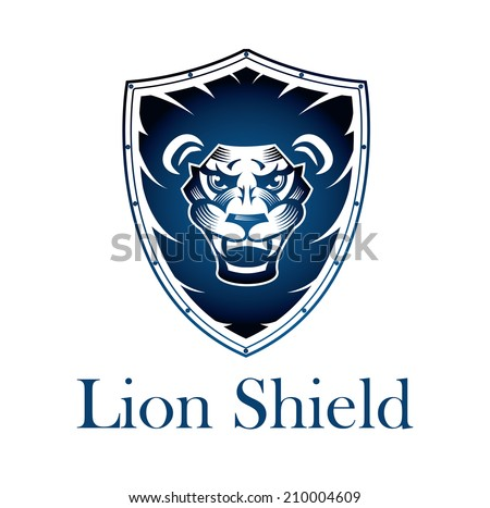 Lion on a Shield - This design suitable for any company or organization looking for a strong corporate Image.  - stock vector