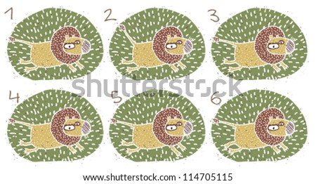 Lion Puzzle ... Task: Find two images that are alike! (match pairs); Answer: No. 3 and 4. - stock vector