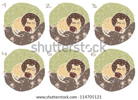 Lion Puzzle ... Task: Find two images that are alike! (match pairs); Answer: No. 1 and 6. - stock vector