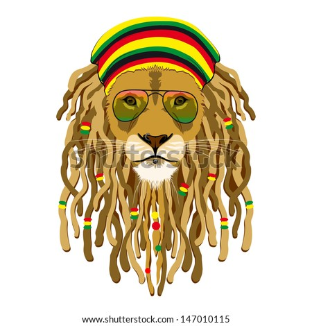 Rasta Lion With Dreads Lion rastafarian - stock