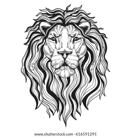 vector black white tattoo lion illustration stock vector 448918093 shutterstock. Black Bedroom Furniture Sets. Home Design Ideas