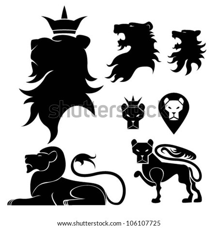 Lion set heraldry - stock vector