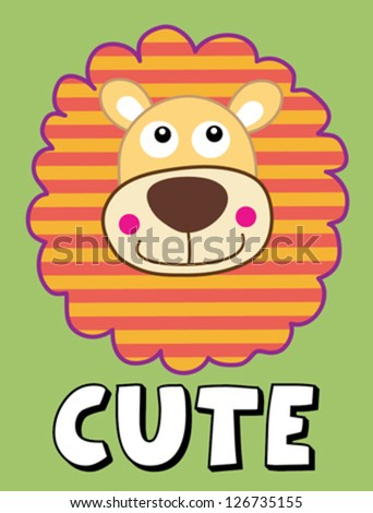 lion / T-shirt graphics / cute cartoon characters / cute graphics for kids / Book illustrations / textile graphic - stock vector